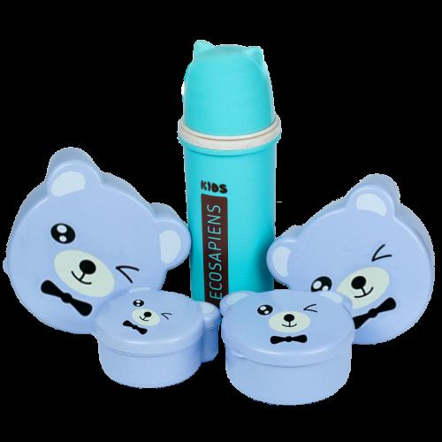 """Эко ланч набор бирюзовая термобутылка """"Ecosapiens Kids"""" 500 мл + голубой ланч бокс 4в1"""