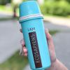 """Эко ланч набор бирюзовая термобутылка """"Ecosapiens"""" + Ланч бокс """"Планета"""" из экоматериала 1200 мл"""