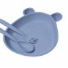 """Тарелка детская """"Мишка"""" из прессованной соломы пшеницы, синяя"""