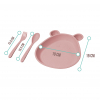 """Тарелка детская """"Мишка"""" из прессованной соломы пшеницы, розовая"""