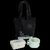 """Эко ланч набор эко-сумка шоппер + бирюзовый ланч бокс """"Ecosapiens"""" 950 мл + бирюзовая ланч бокс супница в форме чашки 850 мл"""