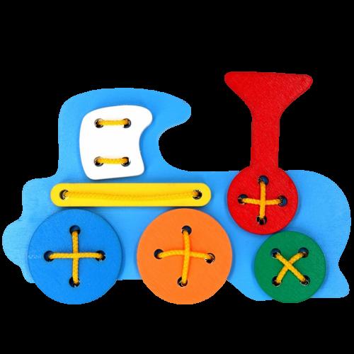 Детская развивающая игрушка шнуровка Паровоз