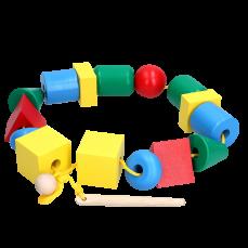"""Детская развивающая игрушка шнуровка """"Бусы макси"""""""