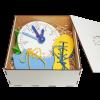 Эко подарочный набор,  шнуровка «Ботинок и кед» + Часы учебные деревянные + подарочная коробка