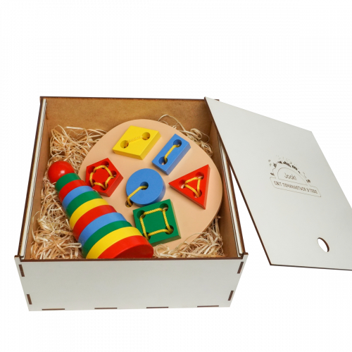 Эко подарочный  набор, шнуровка «Геометрическая» + Пирамидка «Кольцевая»+  подарочная коробка