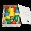 """Эко подарочный набор, детская развивающая игрушка шнуровка """"Бусы макси"""" + подарочная коробка"""