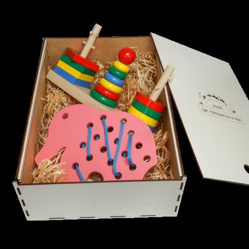 Эко подарочный  набор, шнуровка «Слон» +Игра «Головоломка 3 в 1» + подарочная коробка