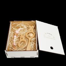 """Эко подарочный детский набор  комплект """"Силиконовый держатель гризунець + игрушка колотушка + коробка"""""""