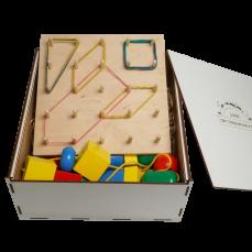 """Эко подарочный набор, шнуровка """"Бусы макси""""+ математический  планшет + подарочная коробка"""