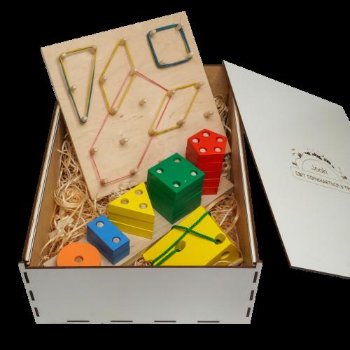 """Эко подарочный набор, шнуровка  """"Сыр"""" + Пирамидка геометрическая """"Счет""""+ математический  планшет + подарочная коробка"""