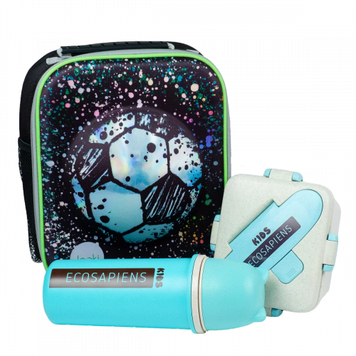 """Эко ланч набор термо-рюкзак 3D """"Football"""" термобутылка 500 мл + ланч бокс 750 мл"""