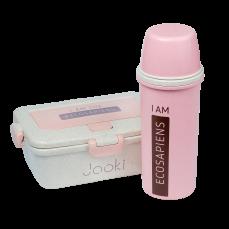 Эко ланч набор термобутылка 500 мл + ланч бокс 950 мл, Розовый