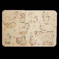 Детский деревянный планшет «Зверюшки»