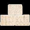 Детский деревянный набор, планшет «Animals» + планшет «Овощи» + планшет «Фрукты»
