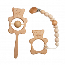 """Детский комплект """"Силиконовый держатель гризунець + игрушка колотушка"""""""